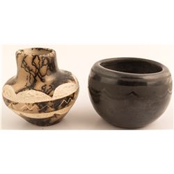 Santa Clara Black bowl and Taos Horsehair Pot