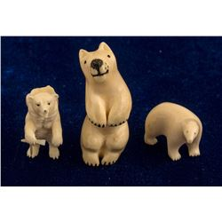 Three Ivory Bear Fetishes