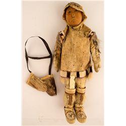 Vintage Eskimo Doll with Ivory Knife