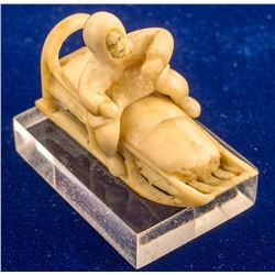 Ivory Carving of Eskimo On a Sled