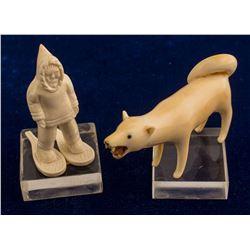 Vintage Wolf and Eskimo Ivory Fetishes