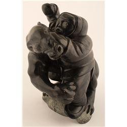 Eskimo Battling Polar Bear Sculpture, Lucassie Echalook