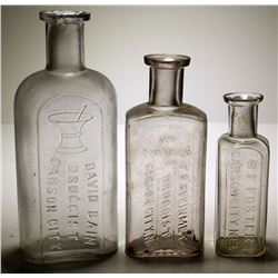 3 Carson City NV Drug Store Bottles