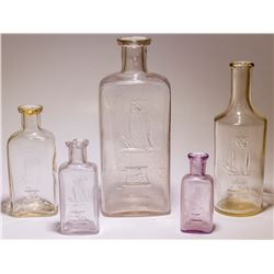 5 Owl Drug Store Bottles