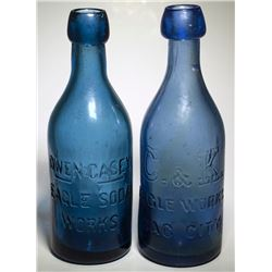 2 Different Eagle Soda Works Bottles