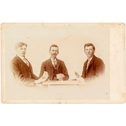 Mounted Photo of Three Men Playing Poker