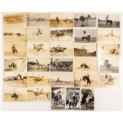 Amazing Group of 25 RPC Rodeo Postcards with Rider and Bucking Horse Named
