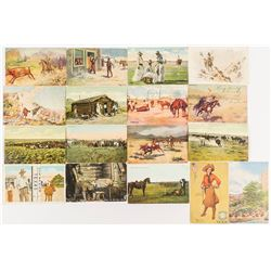 Cowboy Postcard Collection with Country Postmarks