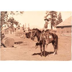 Cabinet Card of a Cowboy and Horse