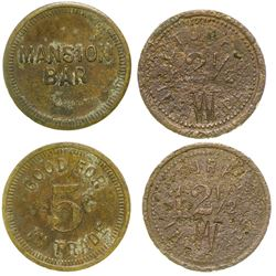 Mansion Bar/ Turf Saloon Tokens (Benson and Bisbee, Arizona)