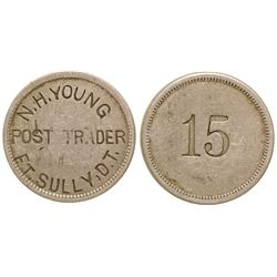 N.H. Young, Post Trader, Ft. Sully, Dakota Territory Token (15c)