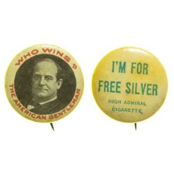 "Bryan Pinback ""Free Silver"" Buttons"
