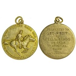 Rare Gold Pony Express Race, Wells Fargo Medal