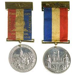 400th Anniversary of Columbus Pin Badge w/ White Metal Medallion