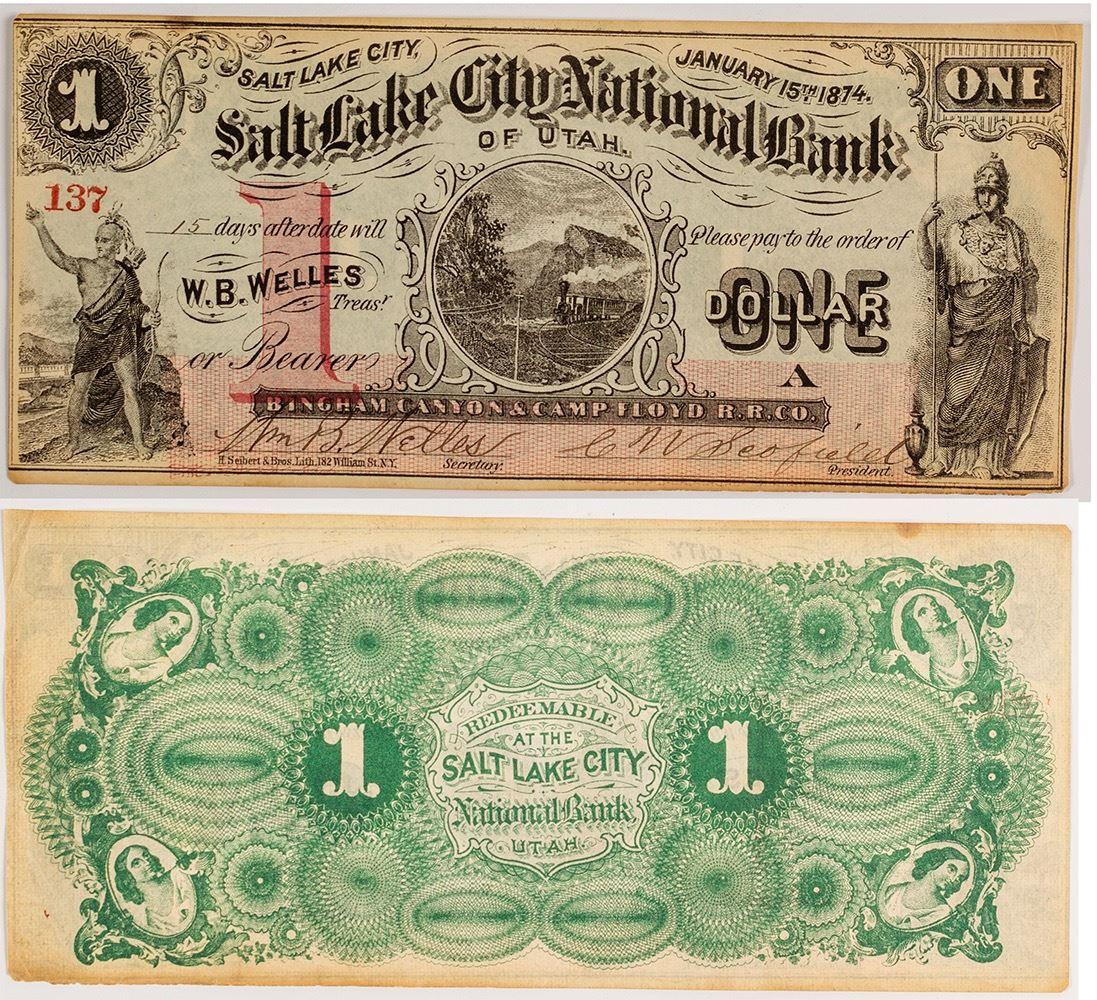 One-Dollar Currency *Green* UTAH State $1 Bill *Genuine Legal Tender* U.S
