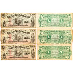 Three Salt Lake City National Bank of Utah $1 Bills (Sequential Serial Numbers)