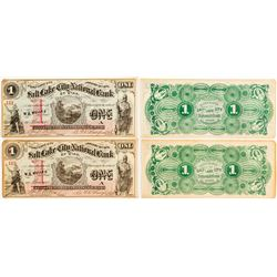 Two Salt Lake City National Bank of Utah $1 Bills (Sequential Serial Numbers)