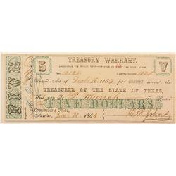 Texas Treasury Warrant 1864