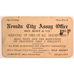 Bost & Co. Assay Card