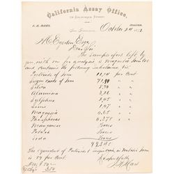 California Assay Office Letterhead, J.A. Mars, 1872 for Austin, Nevada Iron Ore