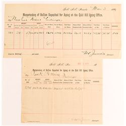 Two Different W.S. James Assayer Gold Bullion Memorandums, Gold Hill, NV