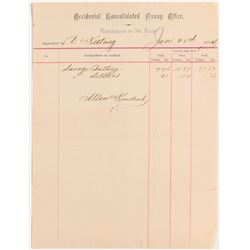 Occidental Cons. Assay Office Ore Memorandum, Virginia City, Nevada