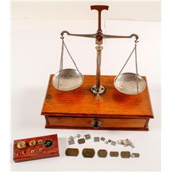 Gold Scale with Weights and Wooden Case