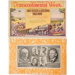 Rare Railroad Booklet Celebrating the Opening of the San Diego & Arizona Railway