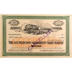 San Francisco & San Joaquin Valley Railway Stock Certificate, 1895