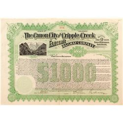 Canon City and Cripple Creek Electric Railway Company Bond (1897)
