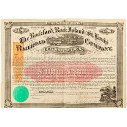 Rockford, Rock Island and St. Louis Railroad Company Bond (Revenue Imprinted) (1868)