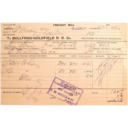 Bullfrog-Goldfield R.R. Freight Bill, Goldfield, NV 1908 for Whisky