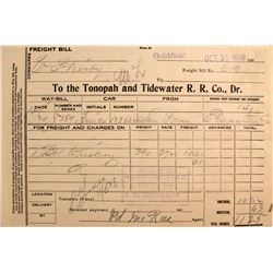 Tonopah & Tidewater R.R. Freight Bill, Whisky- Goldfield Station 1908