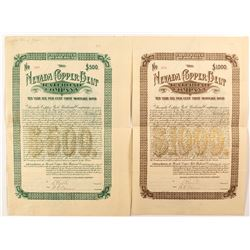 Two Nevada Copper Belt Railroad Company Bonds ($500 and $1,000)