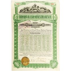 Broadway and Seventh Avenue Railroad Company Bond (1893)