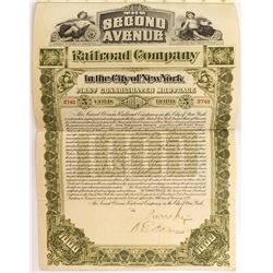 Second Avenue Railroad Company Bond (1898)