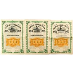 Three Consecutive Oregon Development Company Bonds (1884)