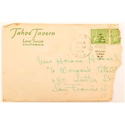 "Tahoe Tavern advertising cover cancelled ""Truckee & Lk. Tahoe RPO.'"