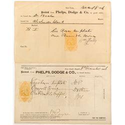 Phelps, Dodge Billheads with Rare Revenue Imprints