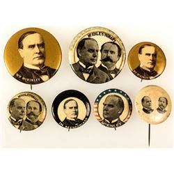 7 Different McKinley Political Buttons