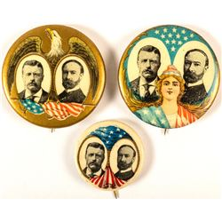 3 Different Roosevelt and Fairbanks Jugate Buttons