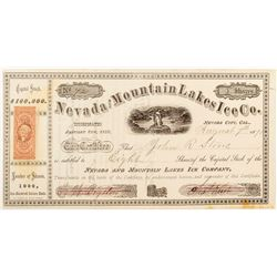 Nevada and Mountain Lakes Ice Co. Stock Certificate
