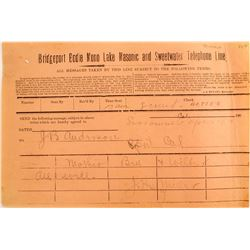 1906 Bridgeport, Bodie, Mono Lake, Masonic, and Sweetwater Telephone Line Receipt