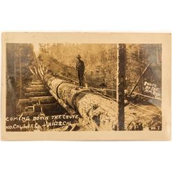 Hilts, CA Real Post Card of Lumber Chute