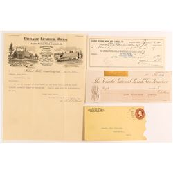 Pictorial Hobart Mills Letter, Cover, & Very Rare Checks (Comstock Lumber Camp near Tahoe)