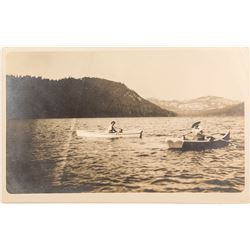 Two Ladies Rowing on Lake Independence, Real Photo Postcard