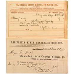 Rare California Telegraph Pair