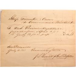 Gold Rush Ship's Receipt for Fresh Provisions that were 3 Months in Shipping