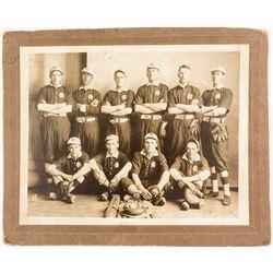Early Mounted Baseball Team Photograph