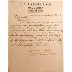E.C. Grissel & Co. Letter, Washington, Nevada County 1904